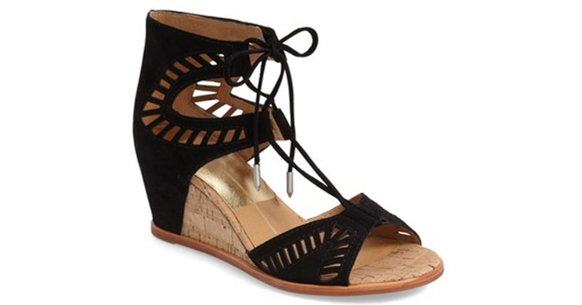Lyst Dolce Vita Linsey Lace Up Wedge Sandal In Black