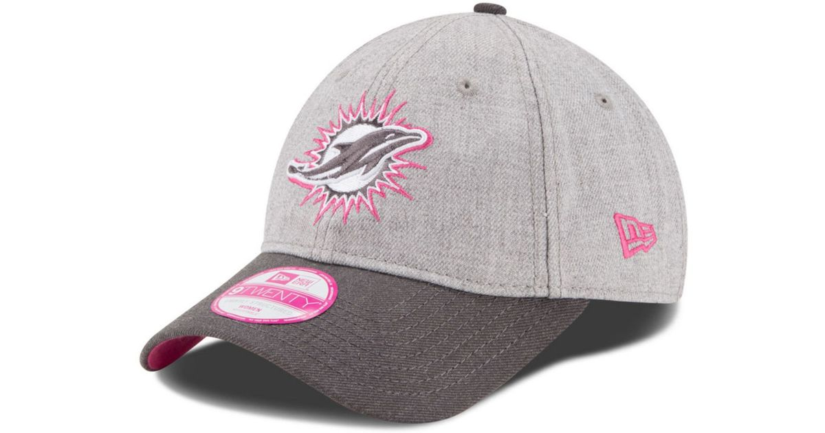 best loved babca f018c new style lyst ktz womens miami dolphins breast cancer awareness 9twenty cap  in gray 9f6ee be91b