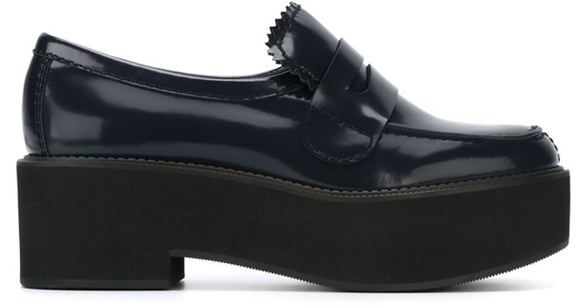 424326a72fd Lyst - Jil Sander Navy Scalloped Leather Platform Loafers in Blue