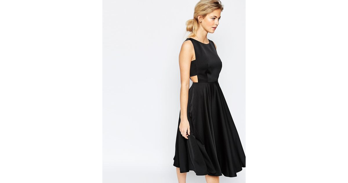 Ted Baker Cutout Crepe Midi Dress In Black Save 41 Lyst