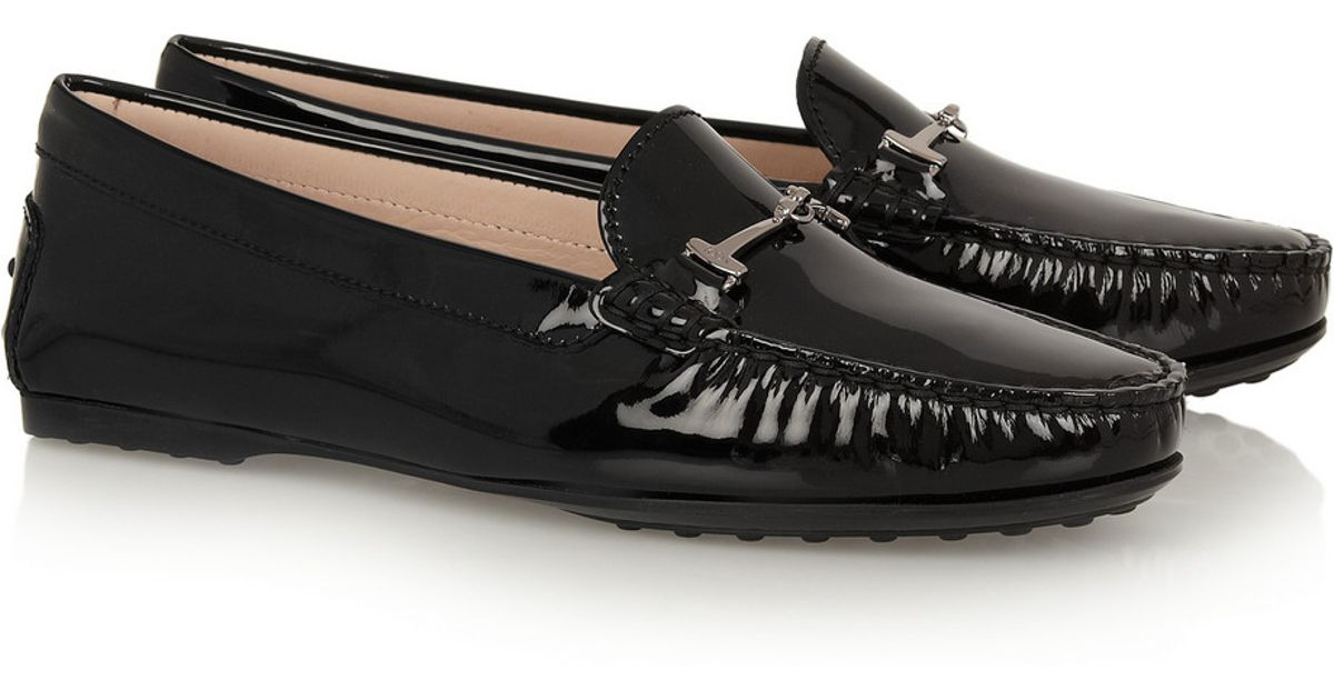 1609bc2b55a Lyst - Tod s City Gommino Embellished Patent-Leather Loafers in Black