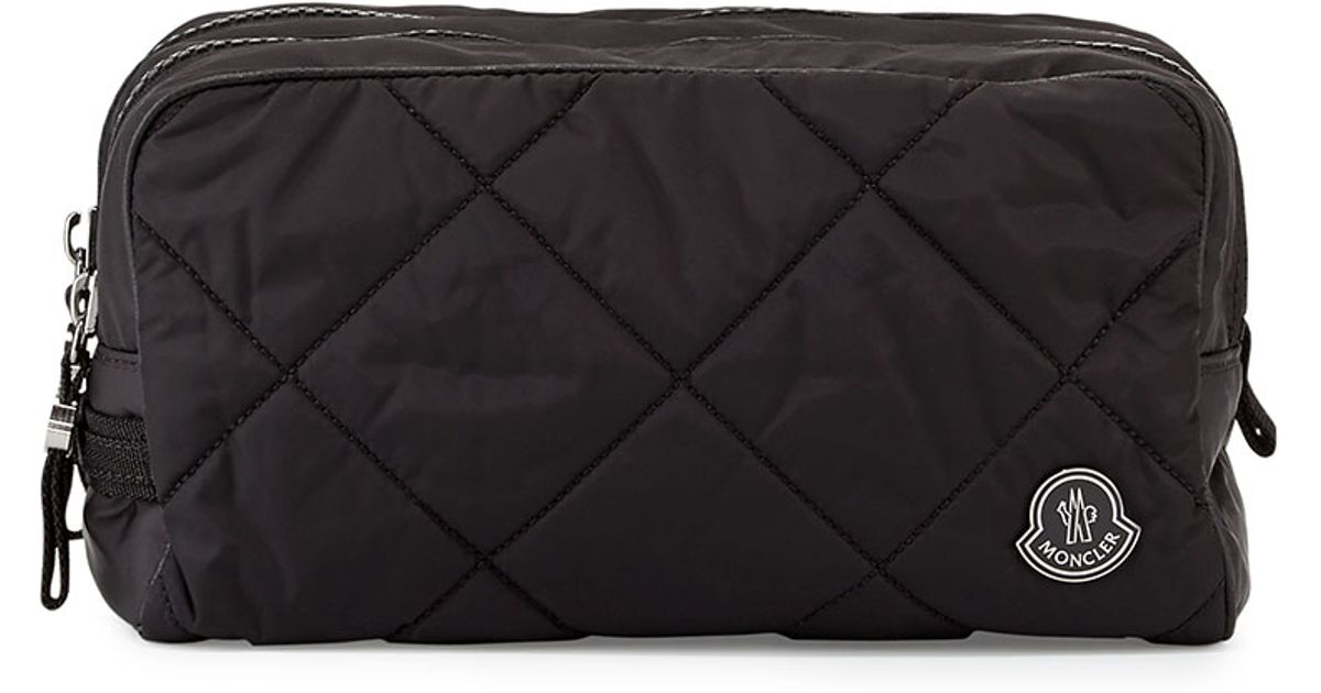 Lyst - Moncler Quilted Nylon Toiletry Bag in Black for Men 10d0861e2c214