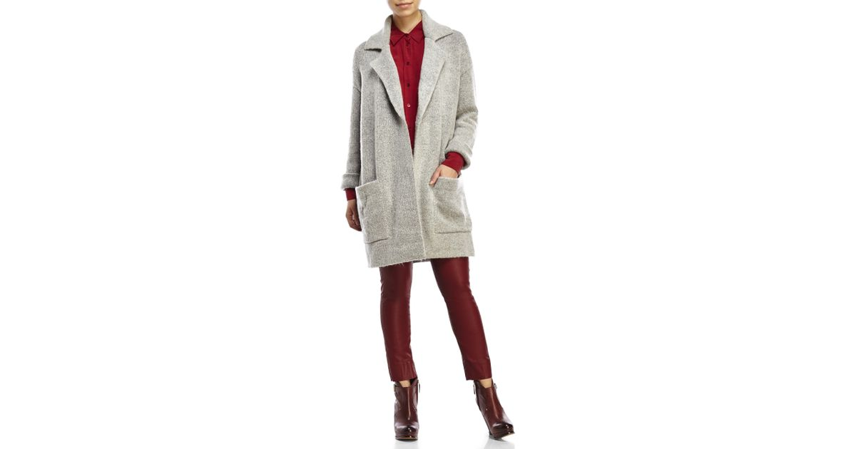 ca25968c9 Lush - Gray Oversized Sweater Jacket - Lyst