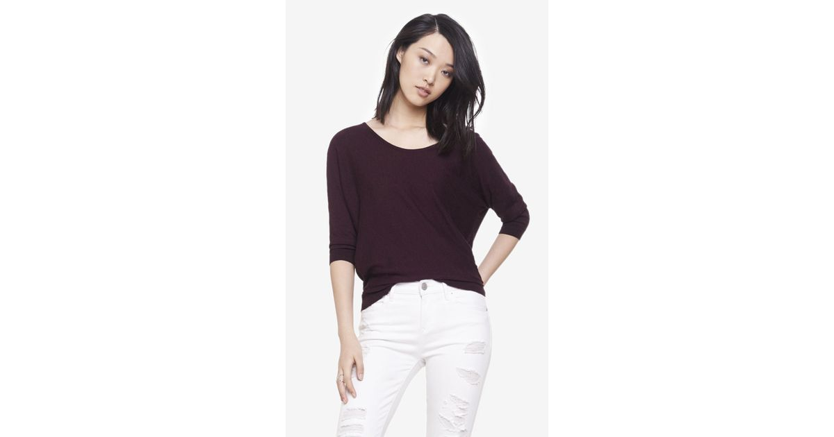 Express Marled Lace Back Dolman Sweater in Purple | Lyst