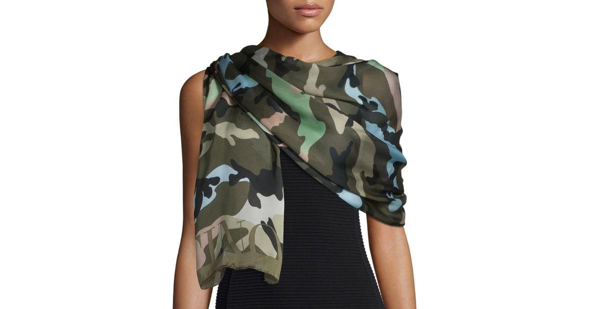 Valentino silk voile camo scarf in multicolor green tea multi lyst - Voile d ombrage camouflage ...