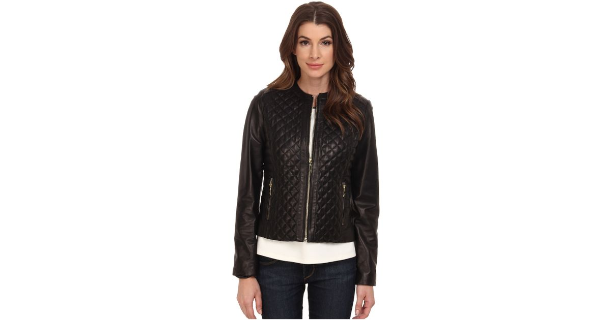 Lyst Cole Haan Collarless Moto Diamond Quilted Leather Jacket In Black