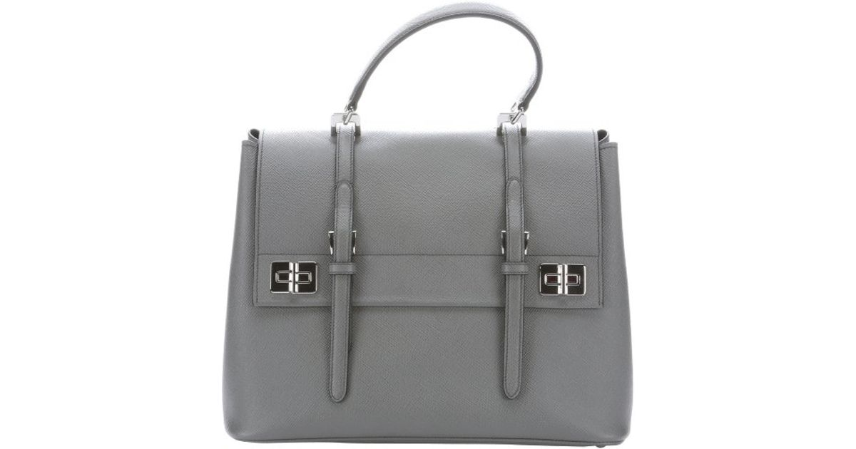 98b1cad4c856 ... order lyst prada marble grey leather buckle detail convertible tote bag  in gray 5801a ca658