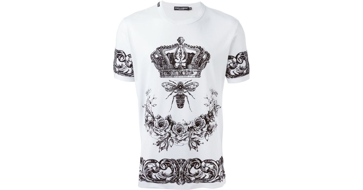 90f5a4fa0e Lyst - Dolce   Gabbana Crown   Bee Print T-shirt in White for Men