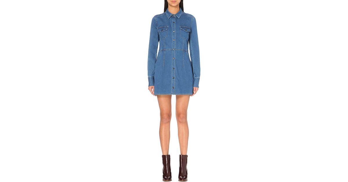 d1f6eec0d0f Lyst - Free People Dynomite Denim Mini Dress in Blue