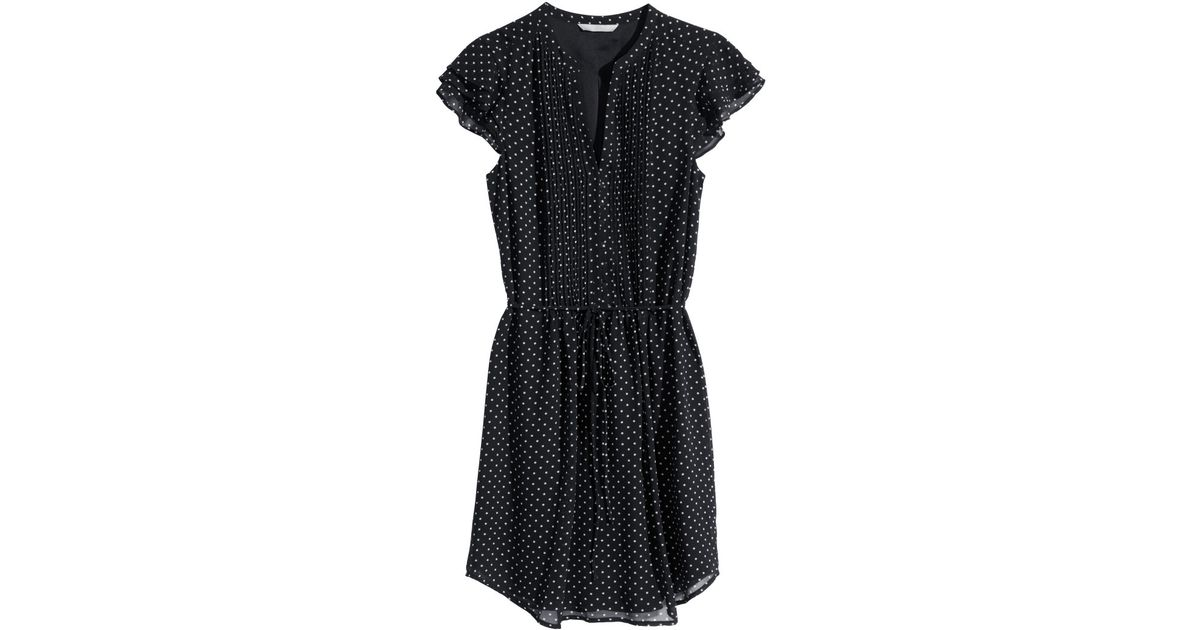 74e7b6c8cd29 H&M Dress With Butterfly Sleeves in Black - Lyst