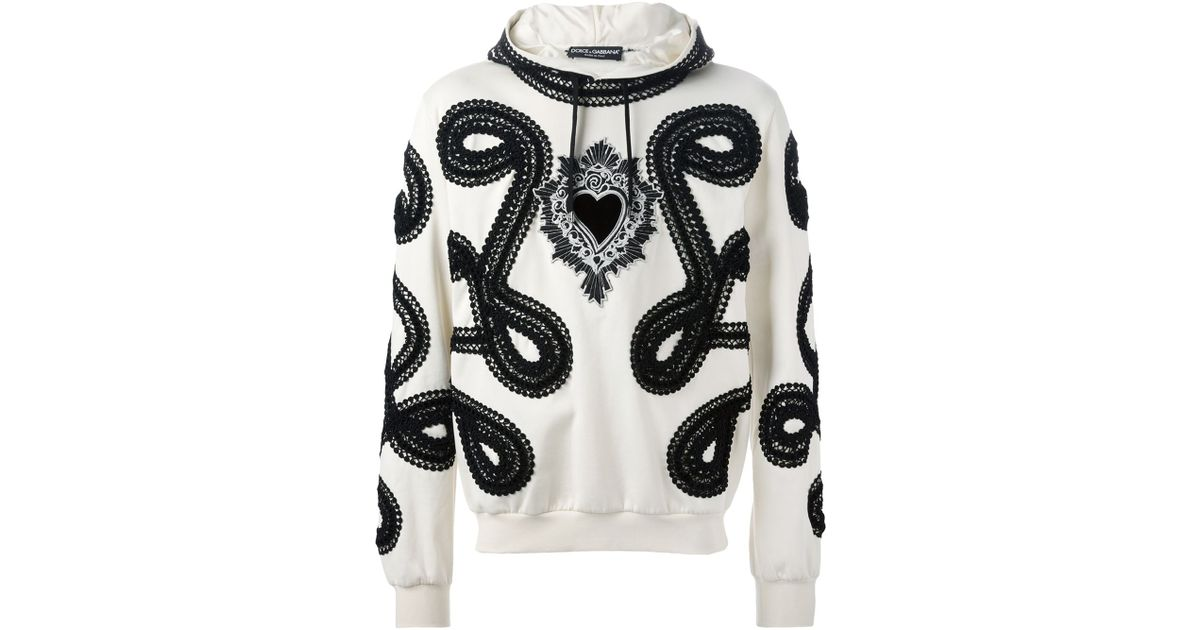 Dolce gabbana sacred heart embroidered appliqué hoodie in