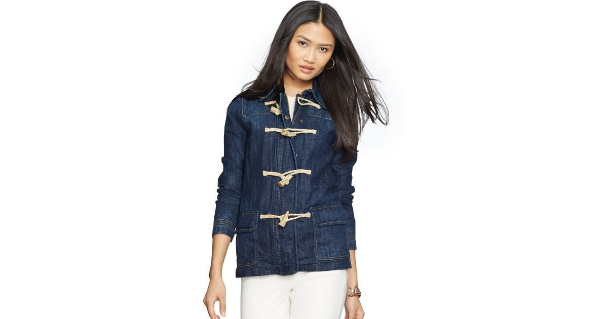 Pink pony Toggle-and-loop Denim Jacket in Blue | Lyst