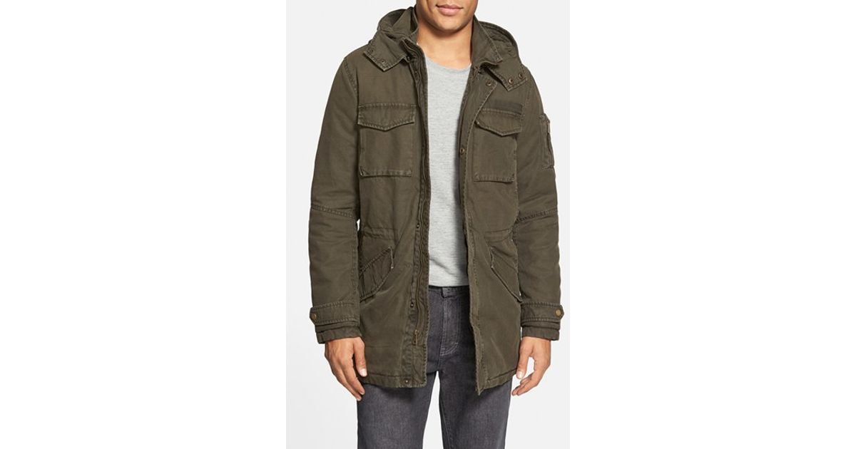 Black rivet Hooded Cotton Military Parka in Green for Men | Lyst