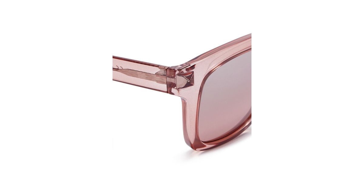 0f819c96cd76 Valentino 'rockstud' Square Frame Acetate Sunglasses in Pink - Lyst