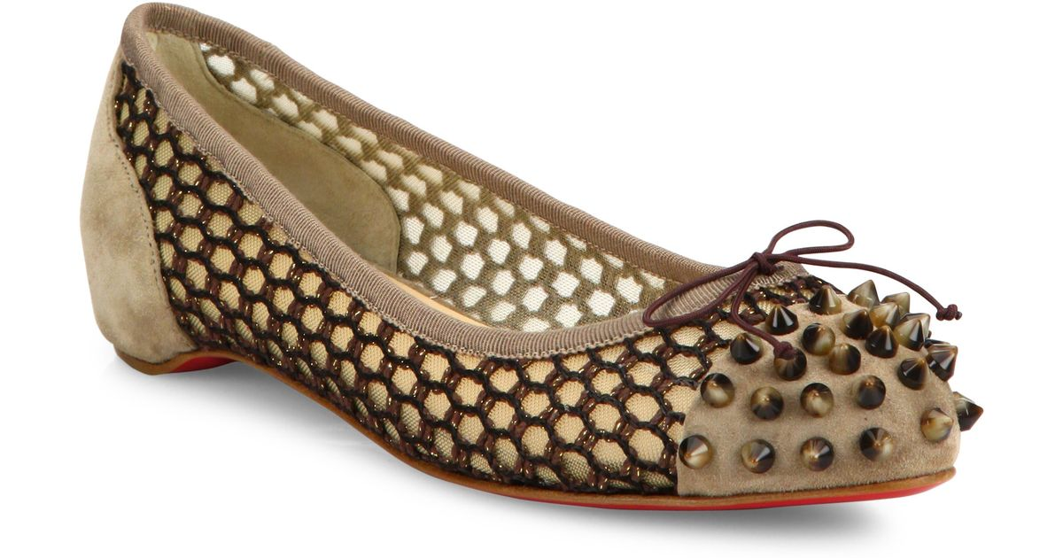 knock off christian louboutins - Christian louboutin Mix Spiked Suede \u0026amp; Knotted Mesh Flats in Beige ...