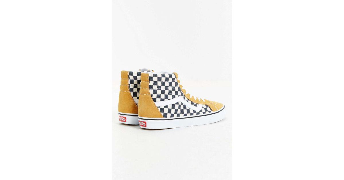 Lyst - Vans Sk8-hi Reissue Checked Sneaker in Yellow eef98e23ee