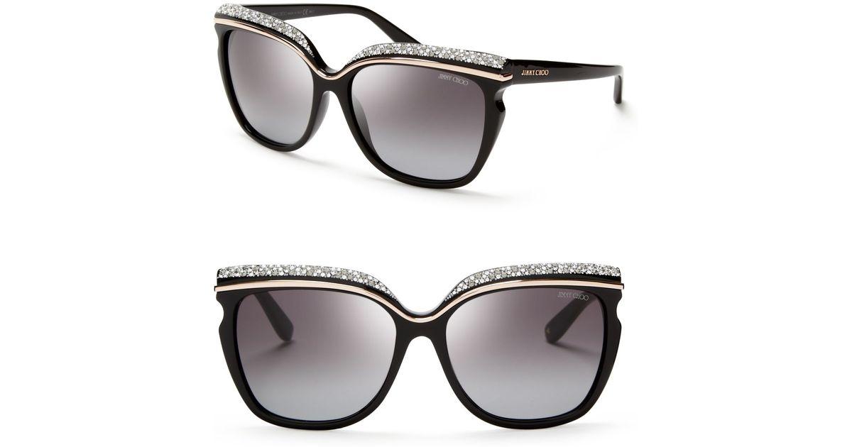 d55ab801958 Jimmy Choo Sophia Oversized Crystal Sunglasses in Black - Lyst