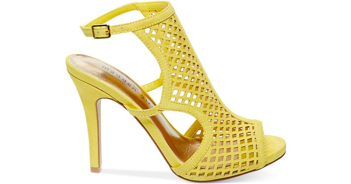 abecb5b569c Lyst - Madden Girl Regalll Caged Dress Sandals in Yellow
