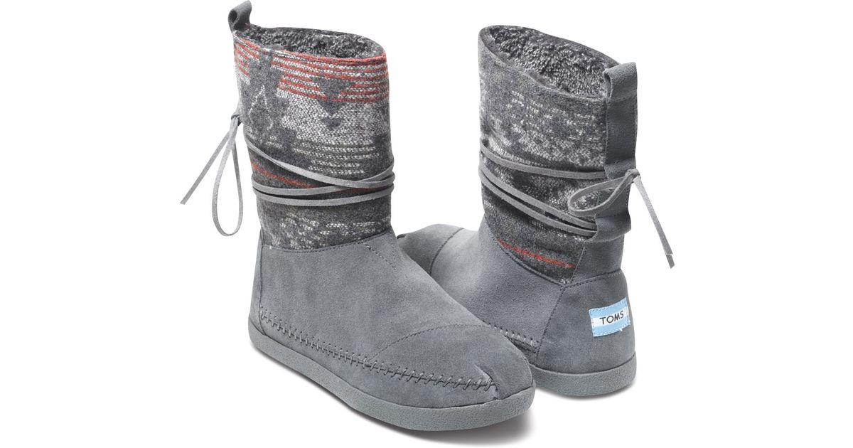 Toms Grey Suede Jacquard Womenu0026#39;s Nepal Boot In Gray (grey) | Lyst