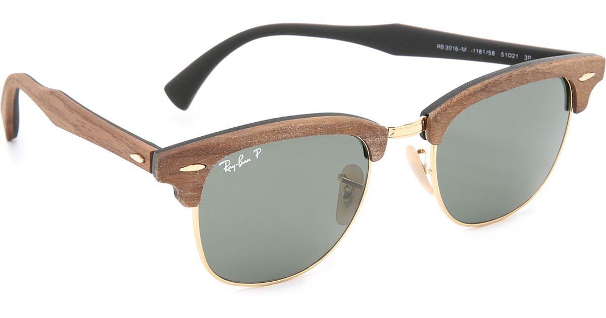 20752b4b6a ... where to buy lyst ray ban wood clubmaster sunglasses in brown for men  f5b23 a5846