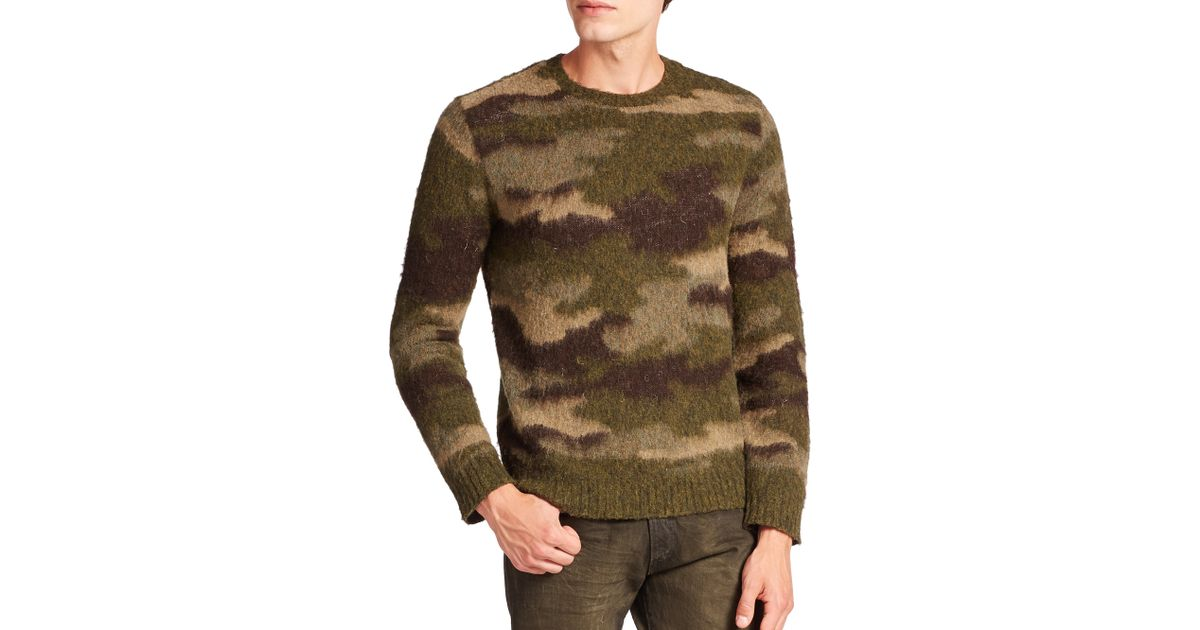 b183825f7 ... low price lyst polo ralph lauren camouflage leather trimmed wool  crewneck sweater in green for men