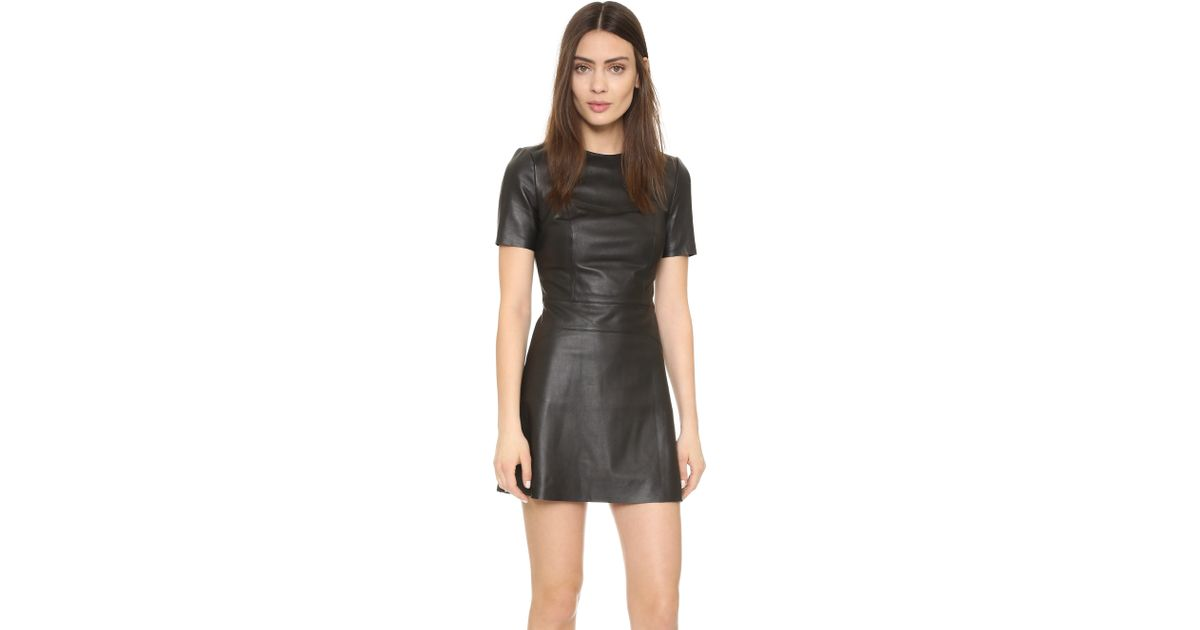 325d4c20313 Kendall + Kylie Leather Short Sleeve Dress in Black - Lyst