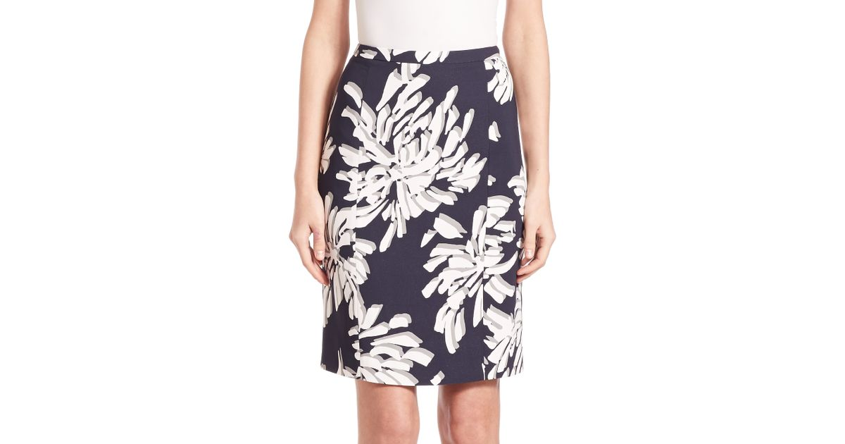 veala printed pencil skirt in blue navy white lyst