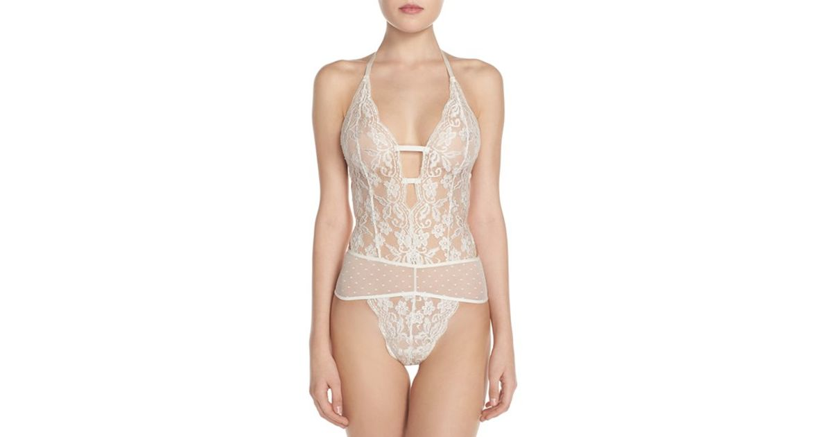 d073e3270 Lyst - In Bloom by Jonquil Lace Thong Teddy in White