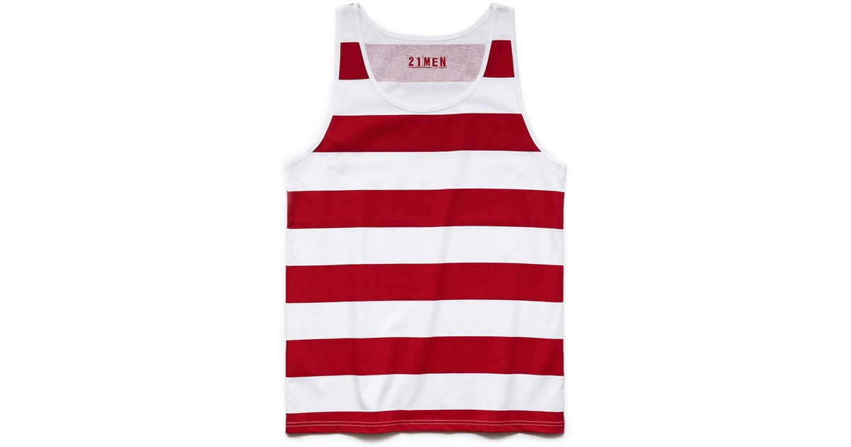 b3eb5e2ab43536 Forever 21 Striped Cotton Tank in Red for Men - Lyst