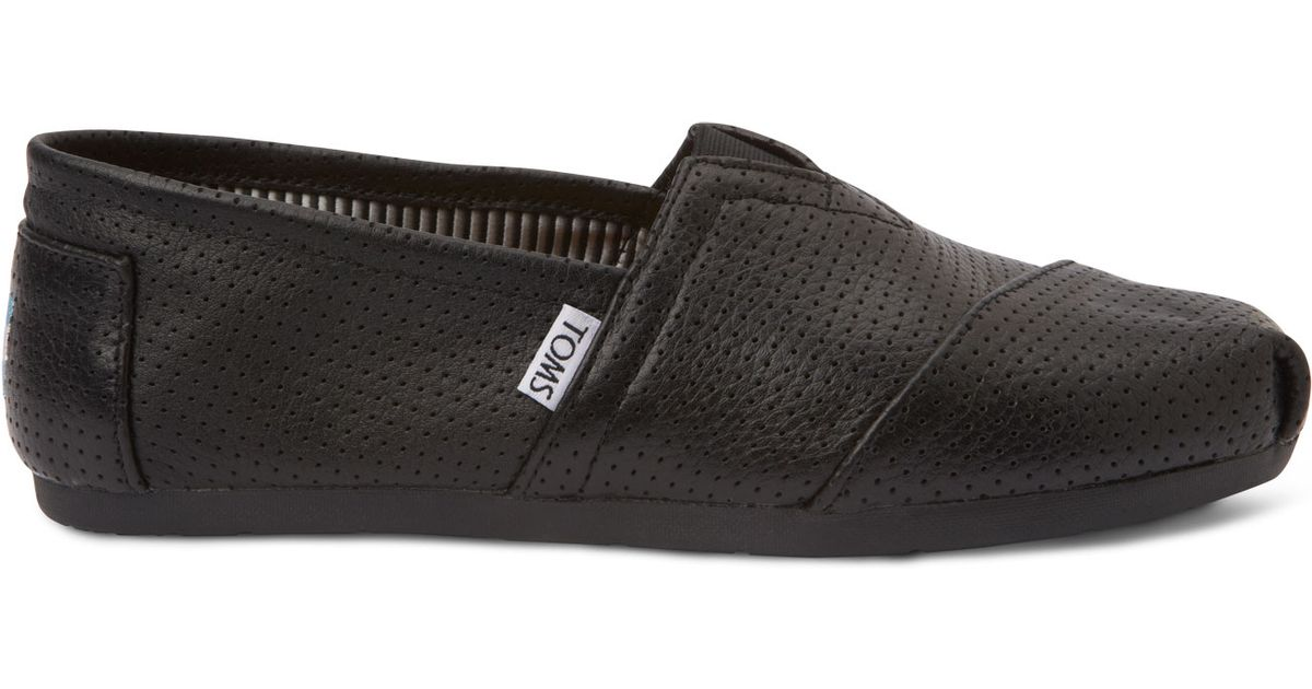 9bed67b8910 Lyst - TOMS Black Perforated Leather Men s Classic in Black for Men