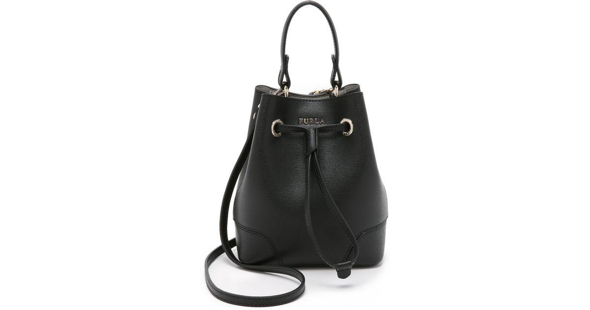 f08144edd57f Lyst - Furla Stacy Mini Drawstring Bucket Bag in Black