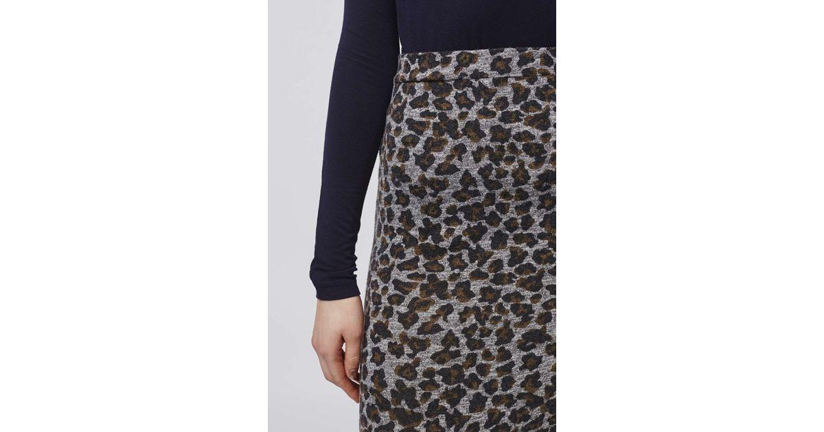 topshop leopard print midi skirt in brown lyst