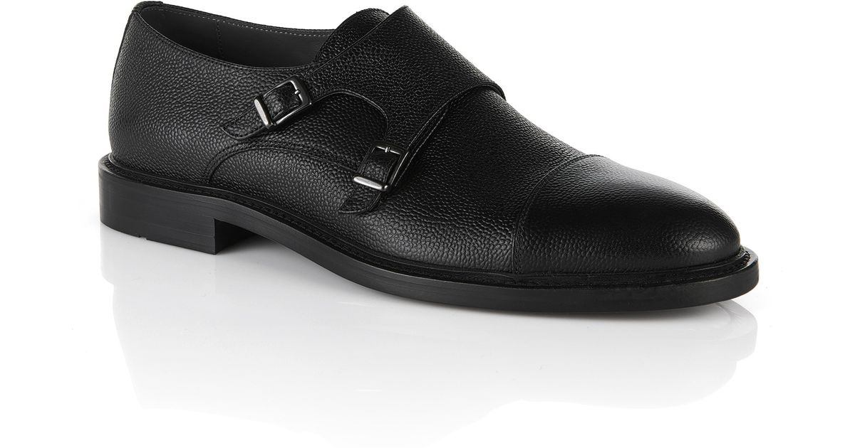 Lyst Boss Kemok Italian Calfskin Double Monk Strap Dress Shoes In Black For Men