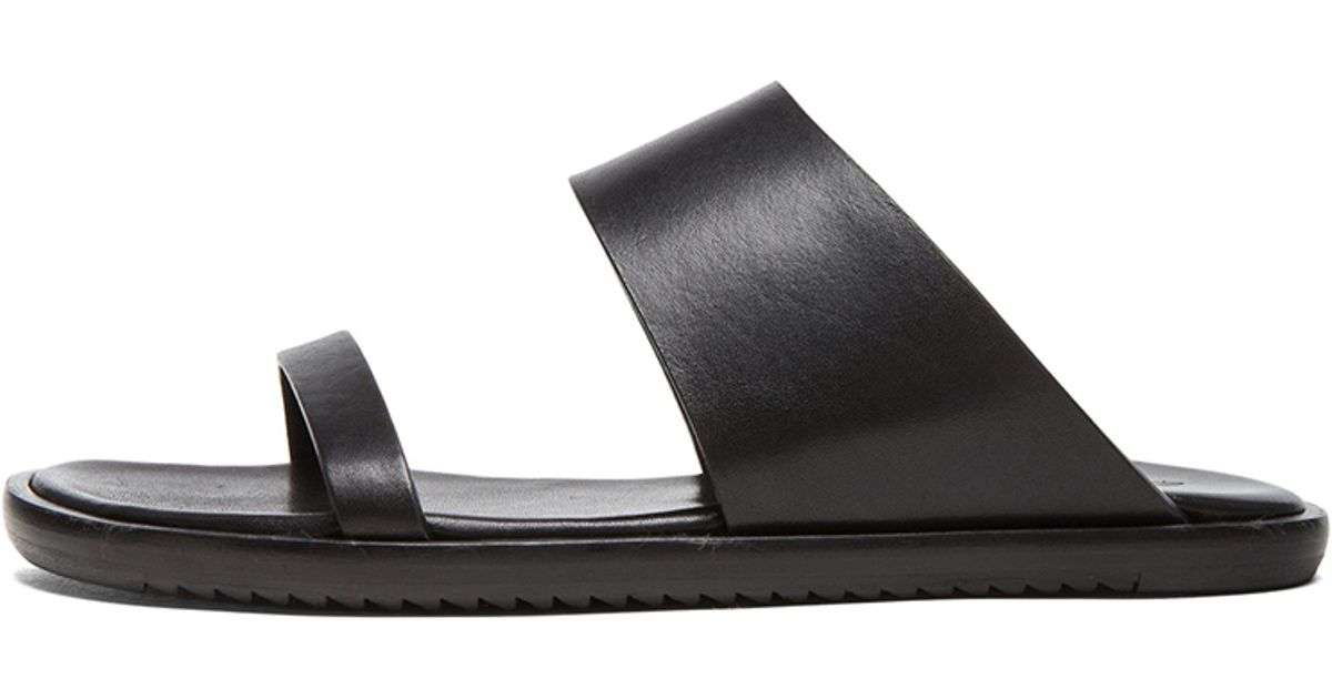 977c7df8c147 Lyst - Rick Owens 2 Strap Leather Sandals in Black