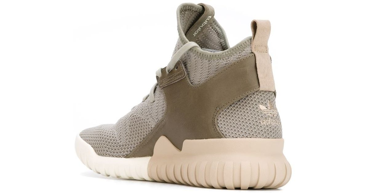 5f7a0ebfeb6793 adidas Originals Tubular X Knit High-Top Sneakers in Green for Men - Lyst