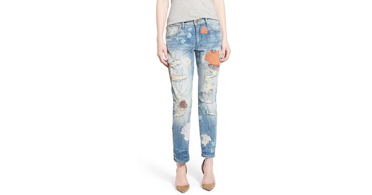 True religion liv embroidered crop boyfriend skinny jeans