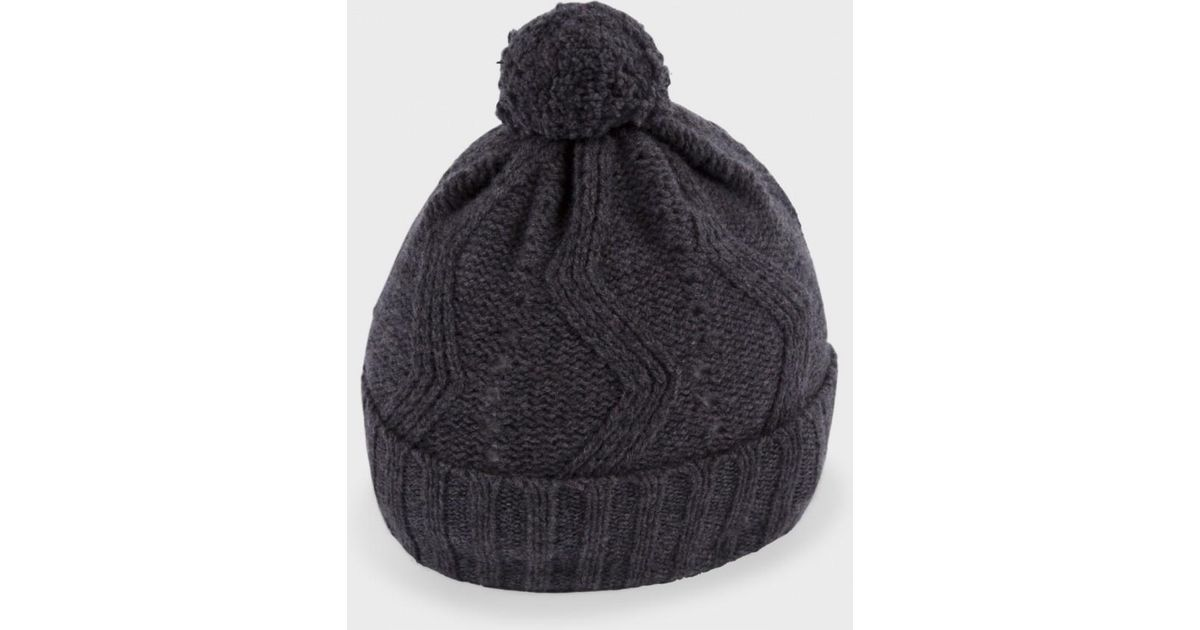 be274707303 Lyst - Paul Smith Grey  Optical  Pattern Knitted Lambswool Bobble Hat in  Gray