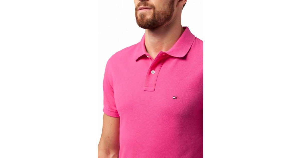 tommy hilfiger slim fit short sleeve polo shirt in purple. Black Bedroom Furniture Sets. Home Design Ideas