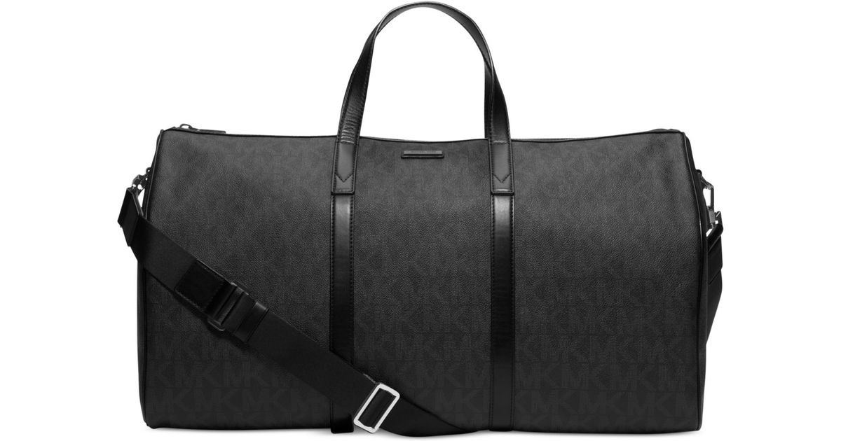 34bde17ed0bf Michael Kors Signature Logo Jet Set Travel Duffle Bag in Black for Men -  Lyst
