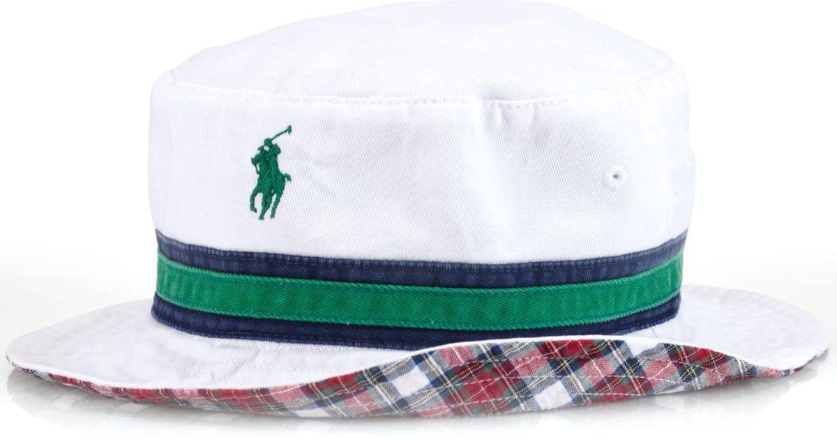 e72838a3756 Lyst Polo Ralph Lauren Reversible Tartan Bucket Hat In White For Men