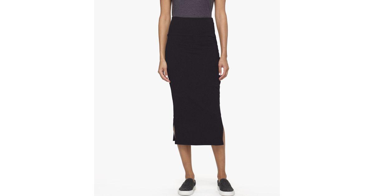 split midi skirt in black lyst