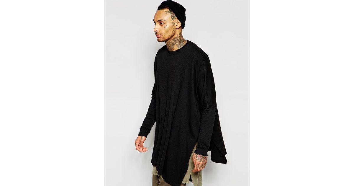 Lyst - Asos Super Longline Oversized Heavy Weight Slub Jersey Poncho -  Black in Black for Men