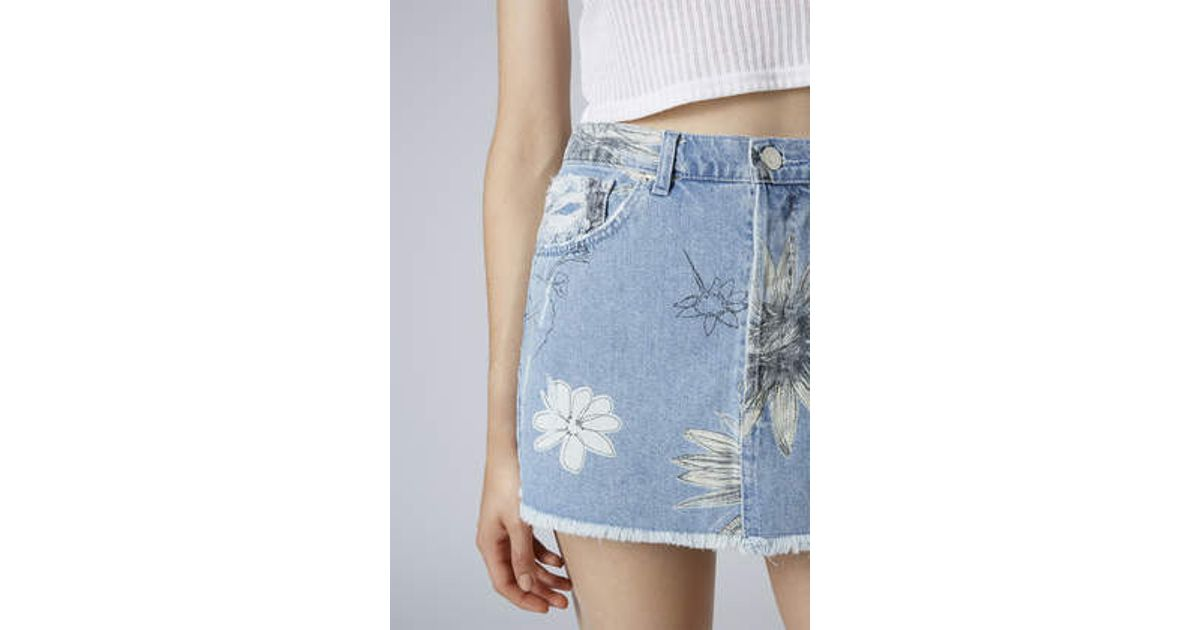 ac30e45b8d88ae TOPSHOP Moto Floral Print Pelmet Skirt in Blue - Lyst