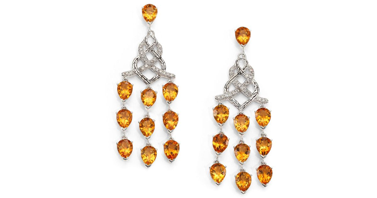 Lyst john hardy classic chain citrine diamond sterling silver lyst john hardy classic chain citrine diamond sterling silver chandelier earrings in orange mozeypictures Gallery