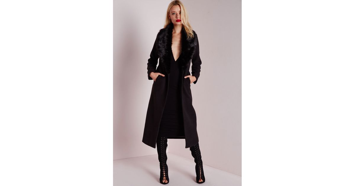 55f27d8ecafe Lyst - Missguided Longline Faux Wool Coat With Faux Fur Collar Black in  Black