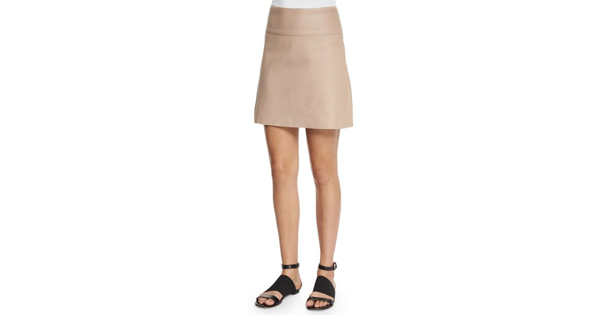 Agnona A-line Leather Mini Skirt in Natural | Lyst