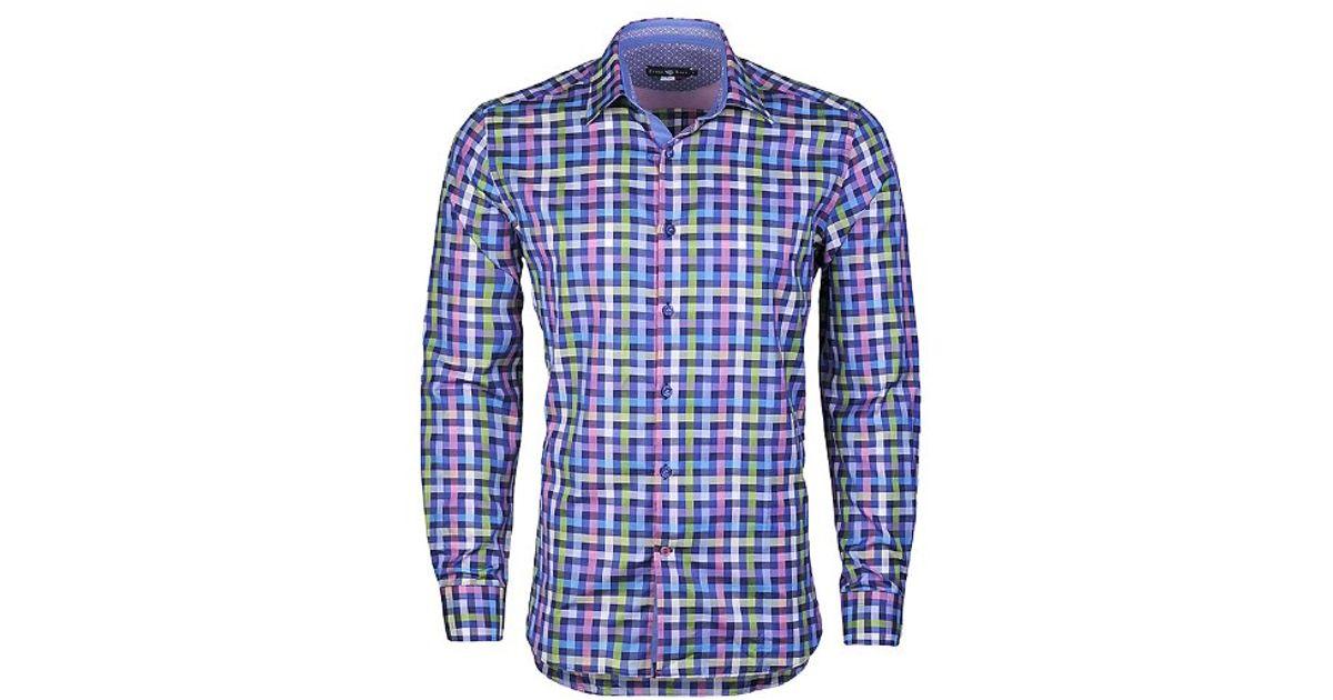 Stone rose Multi Colored Zig Zag Check Button Down Shirt for Men ...