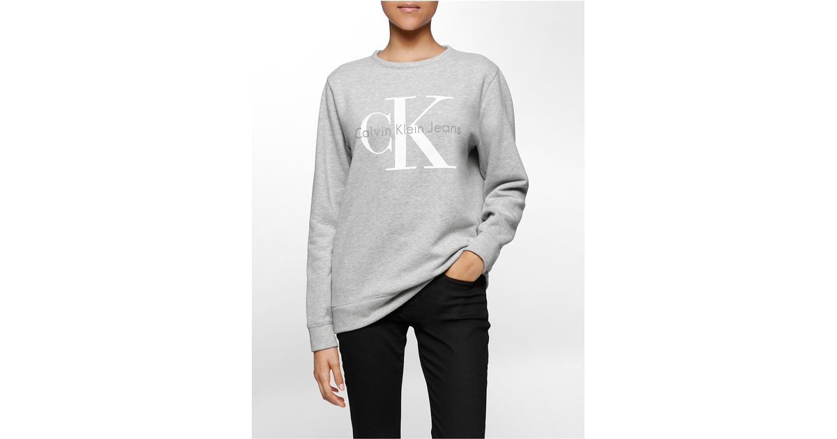 calvin klein jeans vintage logo sweatshirt in gray lyst. Black Bedroom Furniture Sets. Home Design Ideas