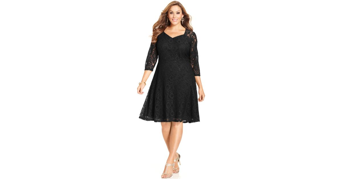 Lyst Spense Plus Size Three Quarter Sleeve Lace A Line Dress In Black