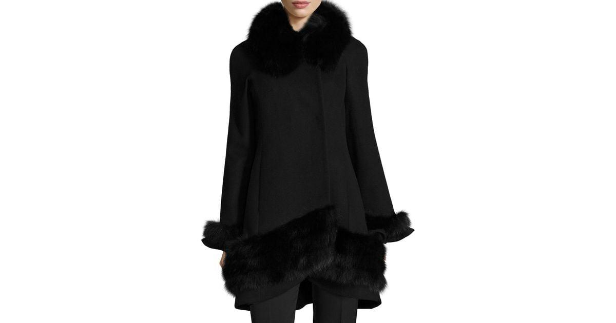Belle fare Cashmere Swing Coat With Fur Cuffs & Trim in Black | Lyst